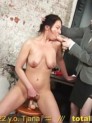 Long-haired secretary interviewed with silicone dicks