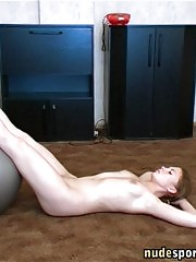 Naked home workout with a Swiss ball