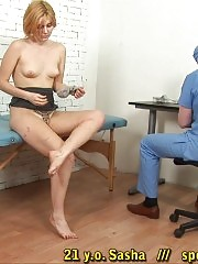 Gynecologist with a huge syringe and his patient