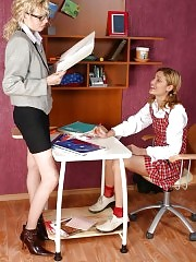 Teacher works with naughty schoolgirl