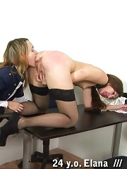 Office lesbian pain and pleasure lesson