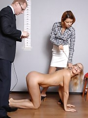 Nude posing and fetish pussy exam at a crazy interview