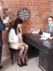 Stress interview of a brune secretary in stockings