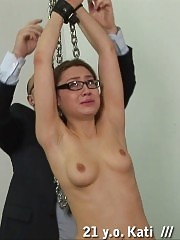 Flogging a pussy of a teacher before ass spanking