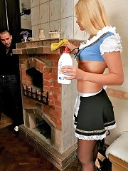 Pretty maid Gabriel gets fucked in the kitchen