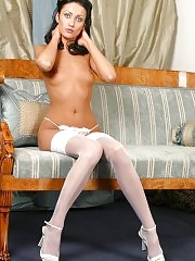 Delicious white stockings and high heels