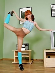 Redhead Alex demonstrates her great flexibility