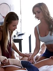 Jillian Janson And Ashley Sinclair Team Up To Give Their Man A Long Wet Blowjob And A Stiffie Ride I