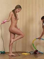 Naked exercises done under lesbian control
