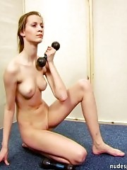 Sylphlike girlie doing naked workouts