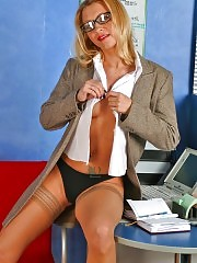 Sexcited secretary undressing and cunt rubbing