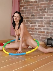 All fitness and gymnastics toys of a nude babe