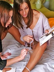 Gorgeous girls fitting new pantyhose pair