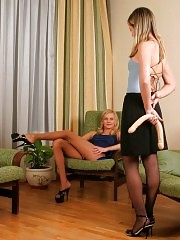 Pantyhose lesbians with double-headed dildo