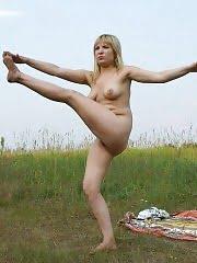 Full little Snow White doing nude yoga
