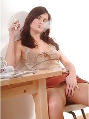 Smoking hot babe in pantyhose