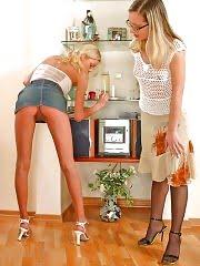 Hot pantyhose lesbians licking