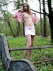 Leggy Girl With Perfect Body Walking In A Woods And Flashing Her Breasts Before Getting Stripped