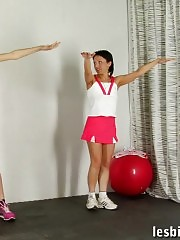 Lewd trainer involves a sport girl in lesbian sex