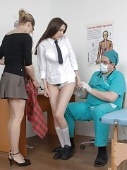 Nasty medical examiners undress a college girl