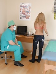 Confused blondie measured by a male doc