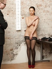 Stripped to the black stockings for a stress test