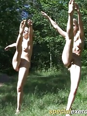 Two stunning schoolgirls working out stripped alfresco