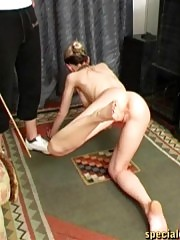 Naked trainee brutalized by a wicked female trainer