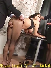 Gynecological and dildo tests passed by an office babe