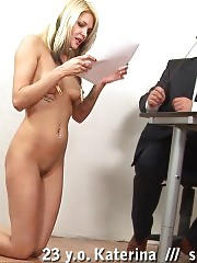 Tattooed nude manager gets the cruel slaps