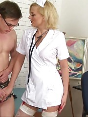 Nude nerd examined by a dressed sexy nurse