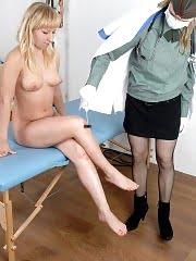 Hair-curling military health exam of a blonde teen