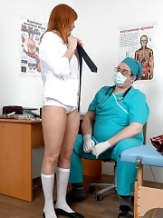 Medical debaucher views a nude college redhead