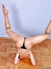 Blondie works out wearing nothing but panties