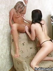 Horny trainer pleases her excited naked trainee