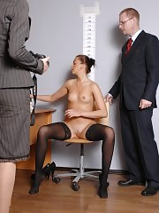 Gyno speculum inserted in a business pussy