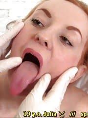 Medical gyno lesbians examine a gagged babe