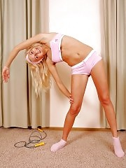 Blondie working out in tiny pink underwear
