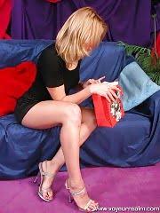 Blonde tries on panties on spy cam