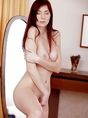 Stunning Redhead Kattie Gold Massages Her Magnificent Tits And Then Moans As She Pleasures Her Soft