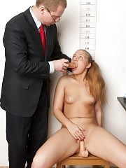 Undressed secretary candidate rides a test sex toy