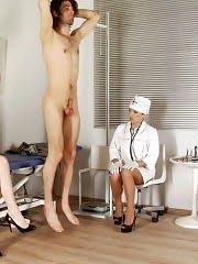 Nurses trying to milk off a gallon of sperm