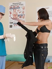 Nude gal does exercises at a physical exam