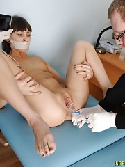 Male and female domination at a gyno customs exam