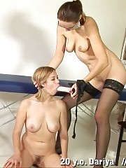 Busty blondie strapon-fucked at the examination