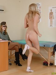 Military lady doctor humiliates a nude recruit