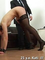 Two cruel spankers punish a crying teacher