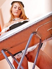 Horny blonde maid Betsy shows fishnet pantyhose instead of ironing