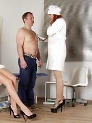 CFNM nurse and doctor give a femdom handjob