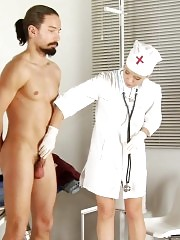 Bearded patient femdomed and milked at the exam
